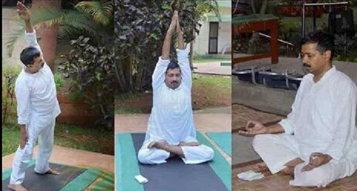 Kejriwal Yoga दिल्ली के सीएम अरविंद केजरीवाल विपश्यना के लिए धर्मशाला पहुंचे