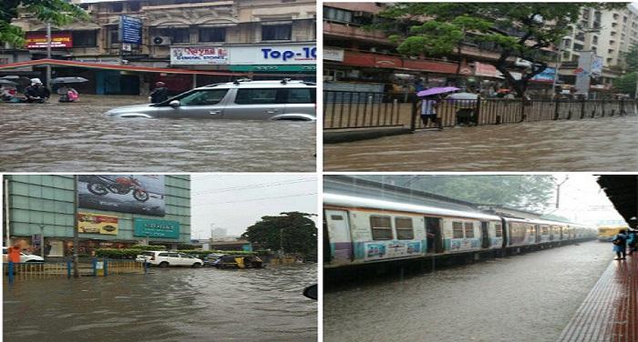 Mumbai 03 भारी बारिश से मुंबई बेहाल, सड़क, रेल, हवाई यातायात प्रभावित (वीडियो)