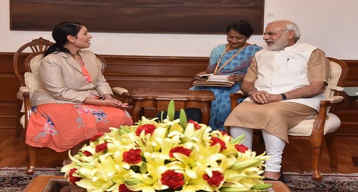 Priti Patel प्रधानमंत्री नरेंद्र मोदी से मिलीं ब्रिटिश मंत्री प्रीति पटेल