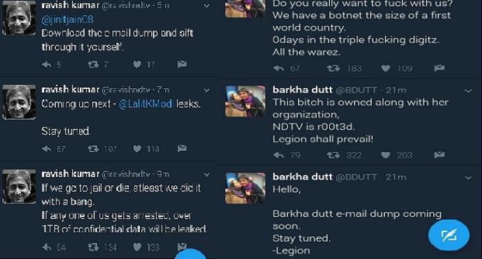 Twiter पत्रकार बरखा दत्त और रवीश कुमार के ट्वीटर अकाउंट हैक