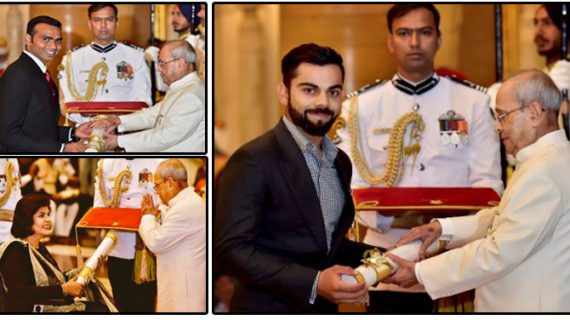 कोहली समेत दीपा, श्रीजेश पद्मश्री पुरस्कार से सम्मानित