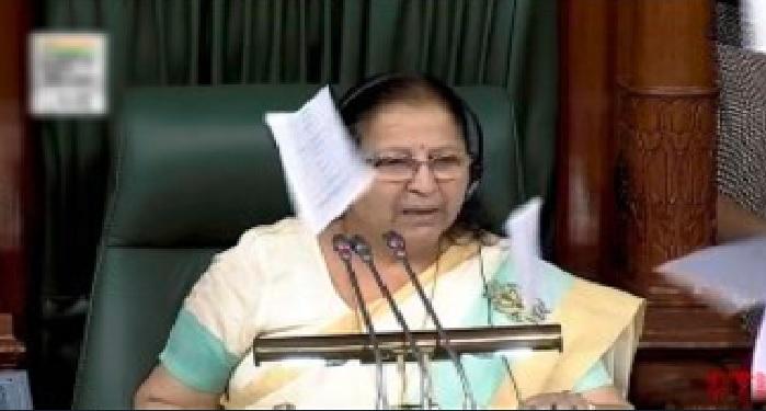 lok sabha, speaker, sumitra mahajan, angry, congress, member