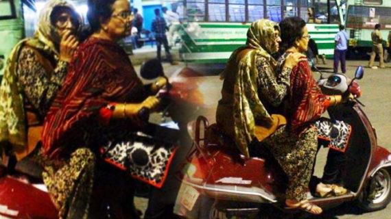 मुंह छिपाकर सड़कों पर निकली किरण बेदी, लिया महिला सुरक्षा का जायजा