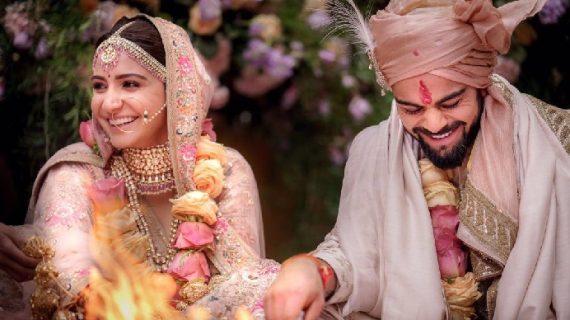 ट्विटर पर विराट और अनुष्का ने शेयर की शादी की तस्वीरों और मैसेज
