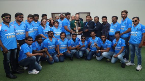 राजनाथ से मिली ब्लाइंड क्रिकेट विश्वकप विजेता टीम