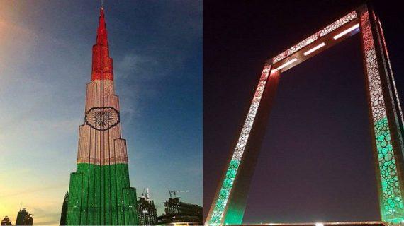 पीएम मोदी के UAE पहुंचने से पहले तिरंगे के रंग से रंगा बुर्ज खलीफा