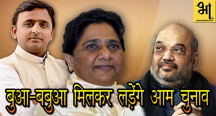 0000 मायावती का बड़ा ऐलान, 2019 का आम चुनाव मिलकर लड़ेगी सपा-बसपा