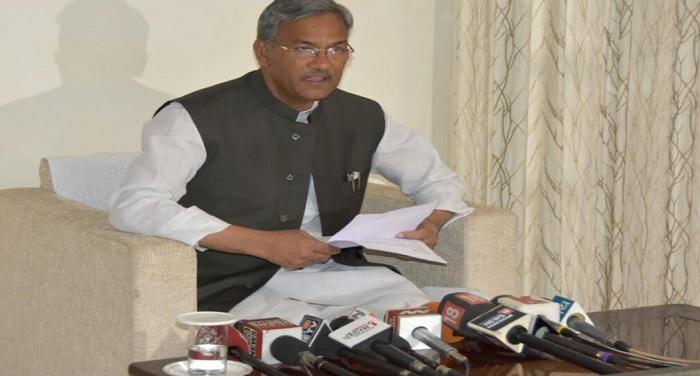 सीएम रावत ने की मुख्यमंत्री आवास पर पत्रकारों से वार्ता