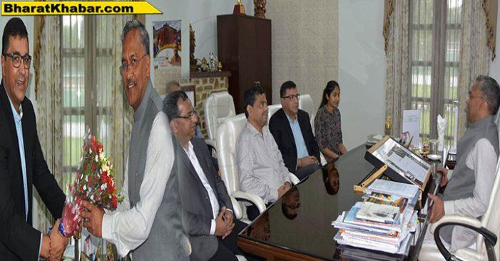 सीएम रावत से बीसीसीआई के प्रो0 रत्नाकर शेट्टी, राहुल जोहरी और रचित मेहरोत्रा ने भेंट की