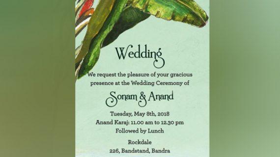 ये रहा सोनम कपूर और आनंद आहूजा की शादी का कार्ड, हर फंक्शन में होगा डिफरेंट ड्रेस कोड
