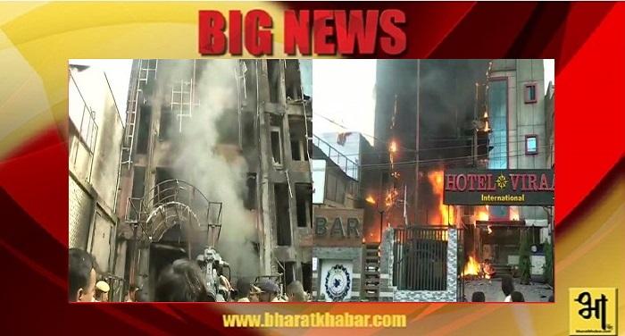 लखनऊ के चारबाग स्थित एसएसजे इन्टरनेशनल होटल में लगी भीषण आग