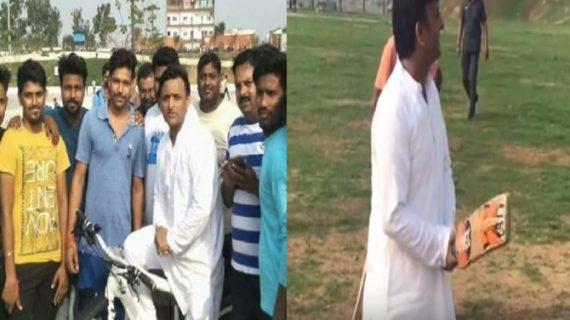 सरकारी बंगला छोड़ने के बाद अखिलेश ने की साइकिल की सवारी, बच्चों के साथ खेला क्रिकेट