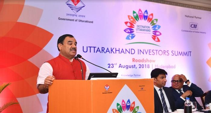 आयुष मंत्री हरक सिंह रावत ने राज्य में निवेश के अवसरों के बारे में निवेशकों को संबोधित किया