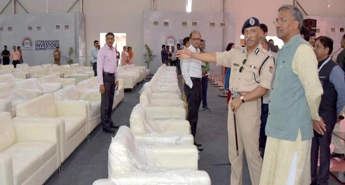 सीएम रावत ने अन्तर्राष्टीय क्रिकेट स्टेडियम रायपुर में आयोजित इन्वेस्टर्स समिट की अन्तिम तैयारियों का निरीक्षण किया