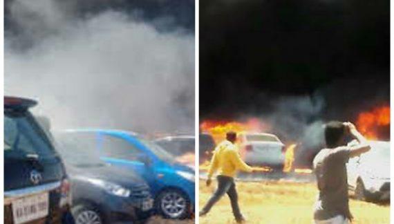एयरो इंडिया शो की पार्किंग में लगी आग,लग भग 100 कर जलकर राख