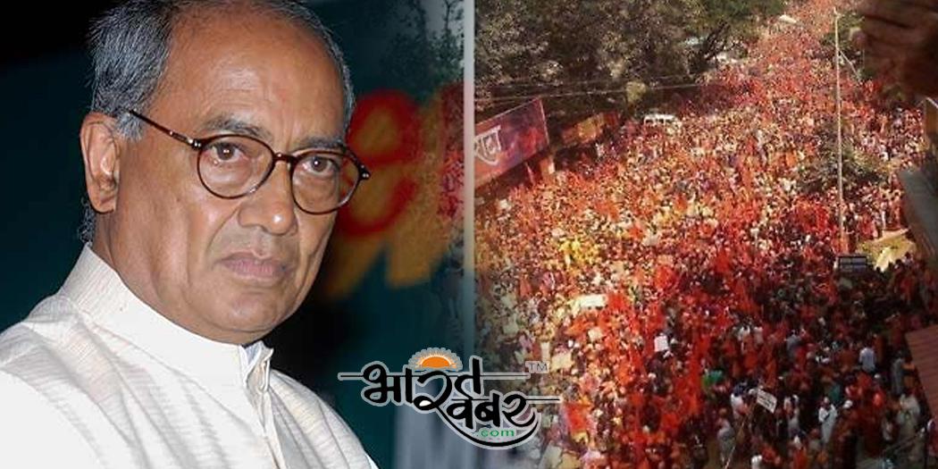 digvijay bhopal साधुओं का दल दिग्विजय के समर्थन निकाल रहा था जुलूस, अचानक लगने लग मोदी-मोदी के नारे