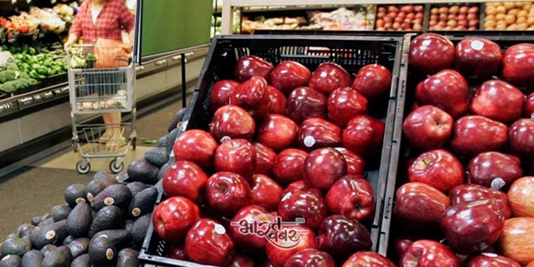 apple fruit with steaker स्टिकर के साथ फलों की बिक्री पर प्रतिबंध