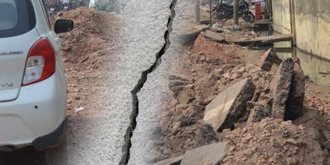road khudayi sadak broken siver line construction अल्मोड़ाः दर्जनों सड़कों की हालत खस्ता, ग्रामीणों ने जताया रोष