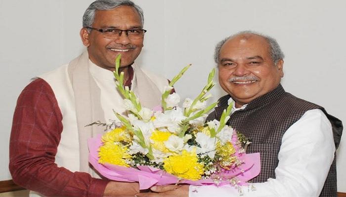 CM RAWAT सीएम त्रिवेंद्र सिंह रावत नई दिल्ली में केंद्रीय ग्रामीण विकास मंत्री नरेंद्र सिंह तोमर से शिष्टाचार भेंट की
