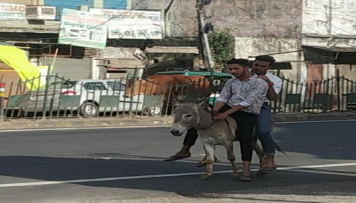 meerut 1 मेरठ में गधे पर जा रहे दो युवकों को पुलिस ने सिखाया सबक, लगवाई उठक बैठक