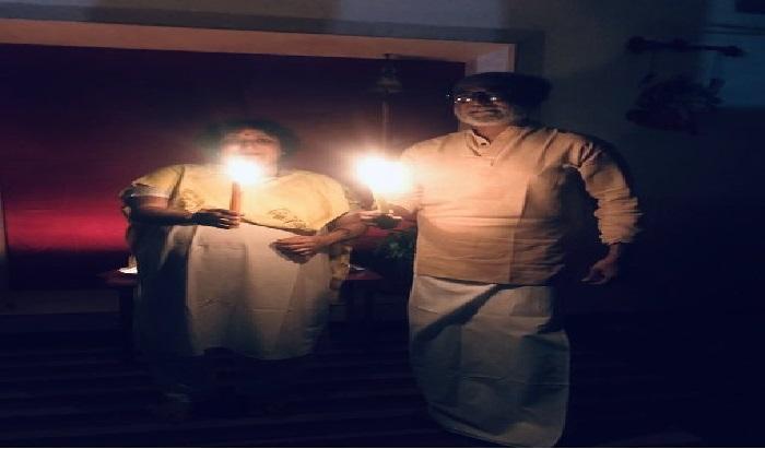 रजनीकांत प्रधानमंत्री नरेंद्र मोदी के आह्वान पर देश भर के लोग और इन बॉलीवुड सितारों ने दिए जलाए