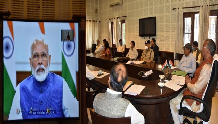 uttrakhand सीएम रावत ने पीएम मोदी जी की अध्यक्षता में आयोजित मुख्यमंत्रियों की वीडियो कांफ्रेंसिग में भाग लिया