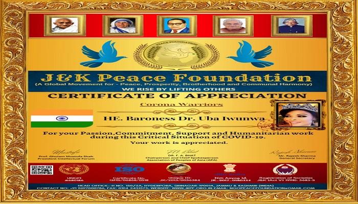 reward 1 जम्मू कश्मीर में पीस फाउंडेशन ने कोरोना वॉरियर्स को किया सम्मानित..
