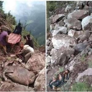 landslide at riasi बारिश ने जम्मू कश्मीर में मचाई तबाही, हाईवे बंद