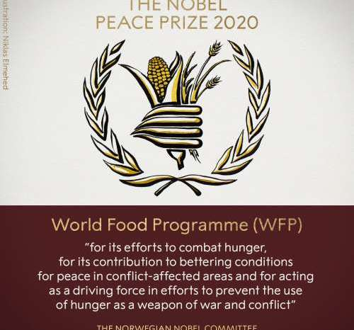 'वर्ल्ड फूड प्रोग्राम' को मिला 2020 का नोबेल शांति पुरस्कार