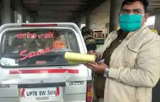 गाड़ी के पीछे जाति लिखने वालो पर होगी सख्त कार्रवाई, लखनऊ में सक्सेना जी की गाड़ी का कटा पहला चालान