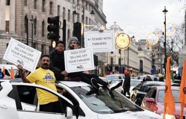 63c171d2 d8a6 413e ae31 893f59088c48 लंदन की सड़को पर दिखाई दिया कृषि कानून का विरोध, 700 गाड़ियों के साथ 4000 लोगों ने रैली में लिया हिस्सा